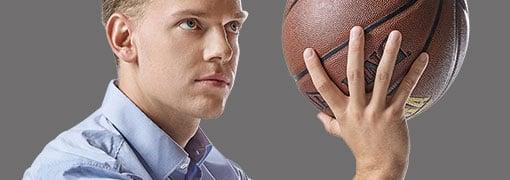 Employee Jan with basketball