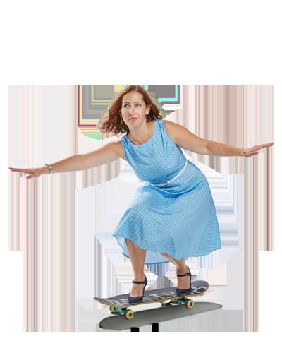 Mitarbeiterin Maria auf dem Sakteboard