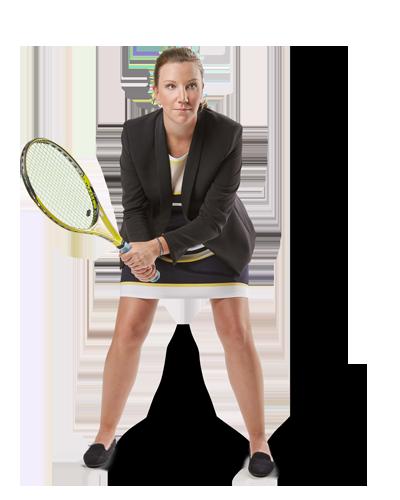 Mitarbeiterin Christiane spielt Tennis