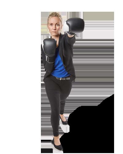 Employee Jessica boxing